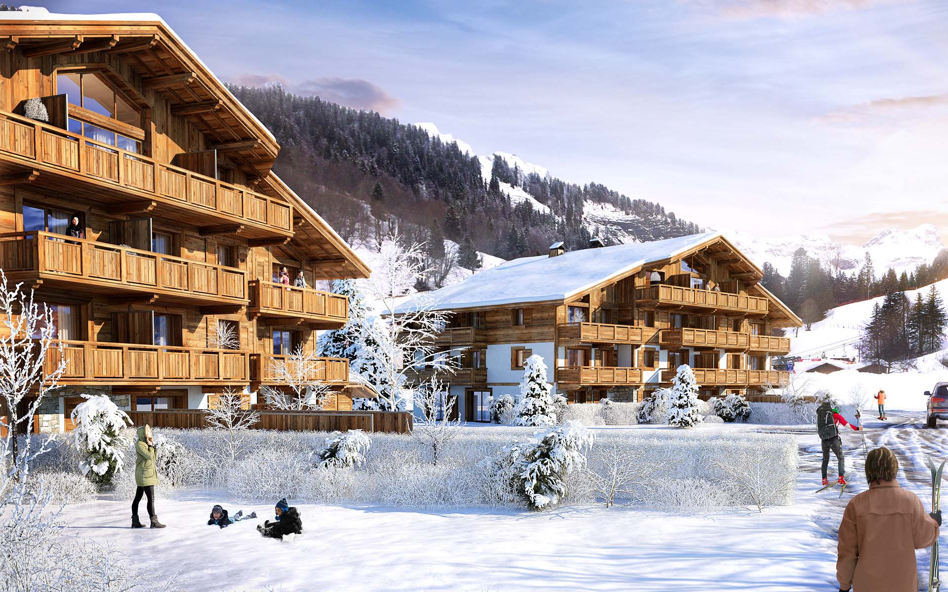 Création de contenu 3D pour la promotion immobilière d'un chalet de luxe à La Guettaz en Savoie.