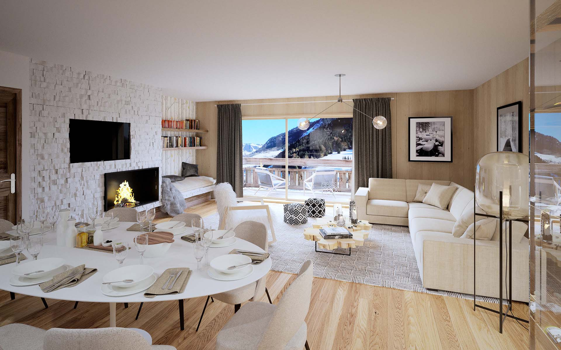 Creation of 3D promotional images of a luxurious apartment for marketing.