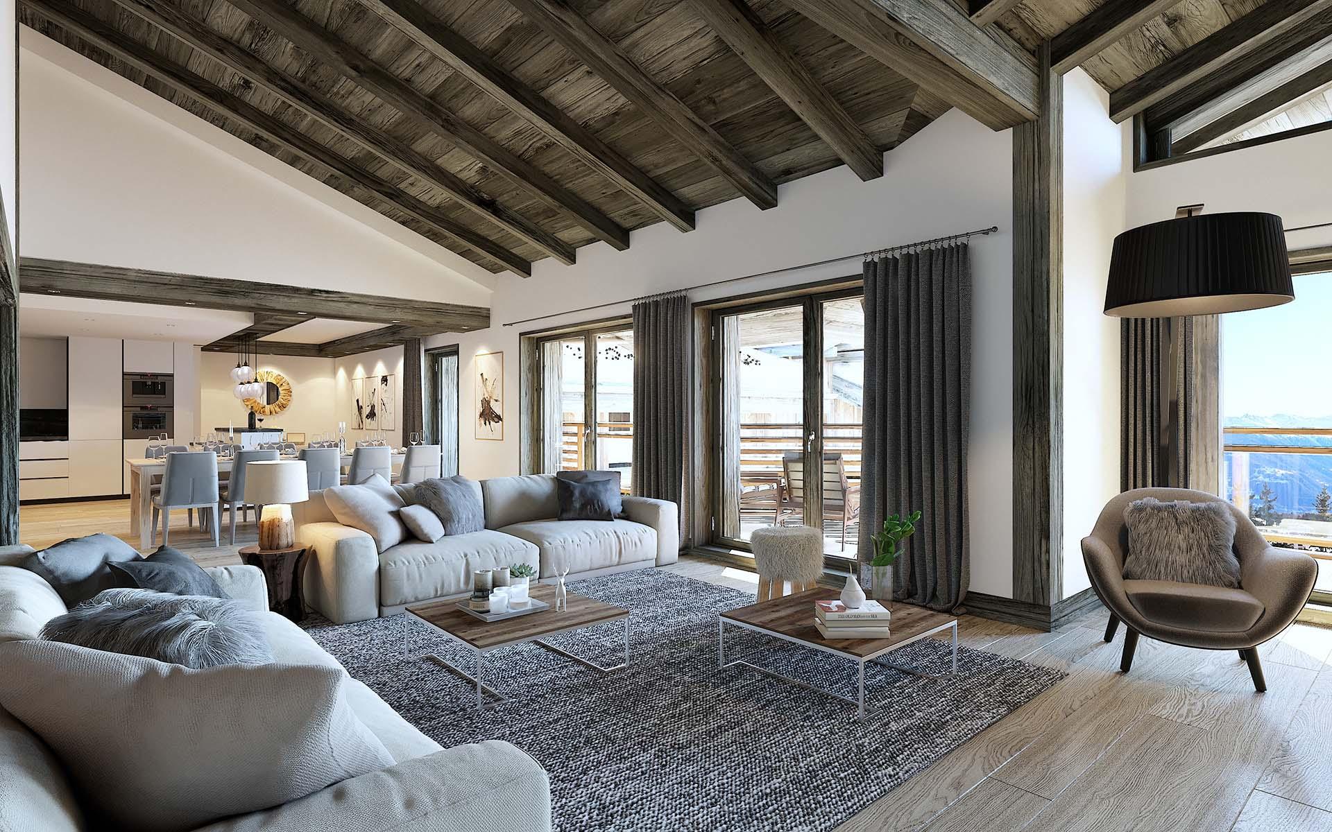 Création de vue en 3 dimensions par un studio 3D qualifié d'un appartement de luxe.