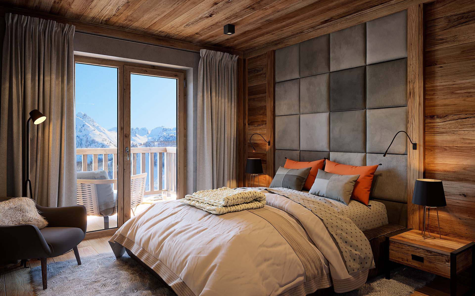 3D Perspective view of a room of a luxurious chalet created by a professional 3D architect.