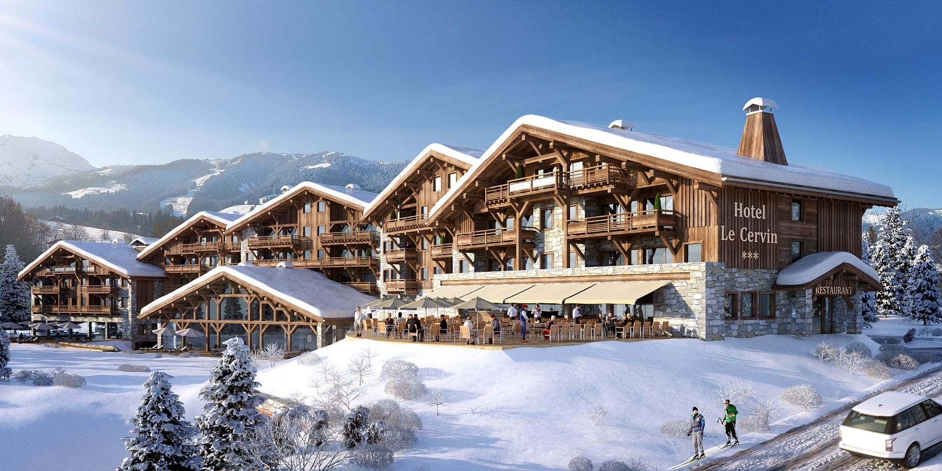 3D perspective overview of a hotel in a snowy landscape