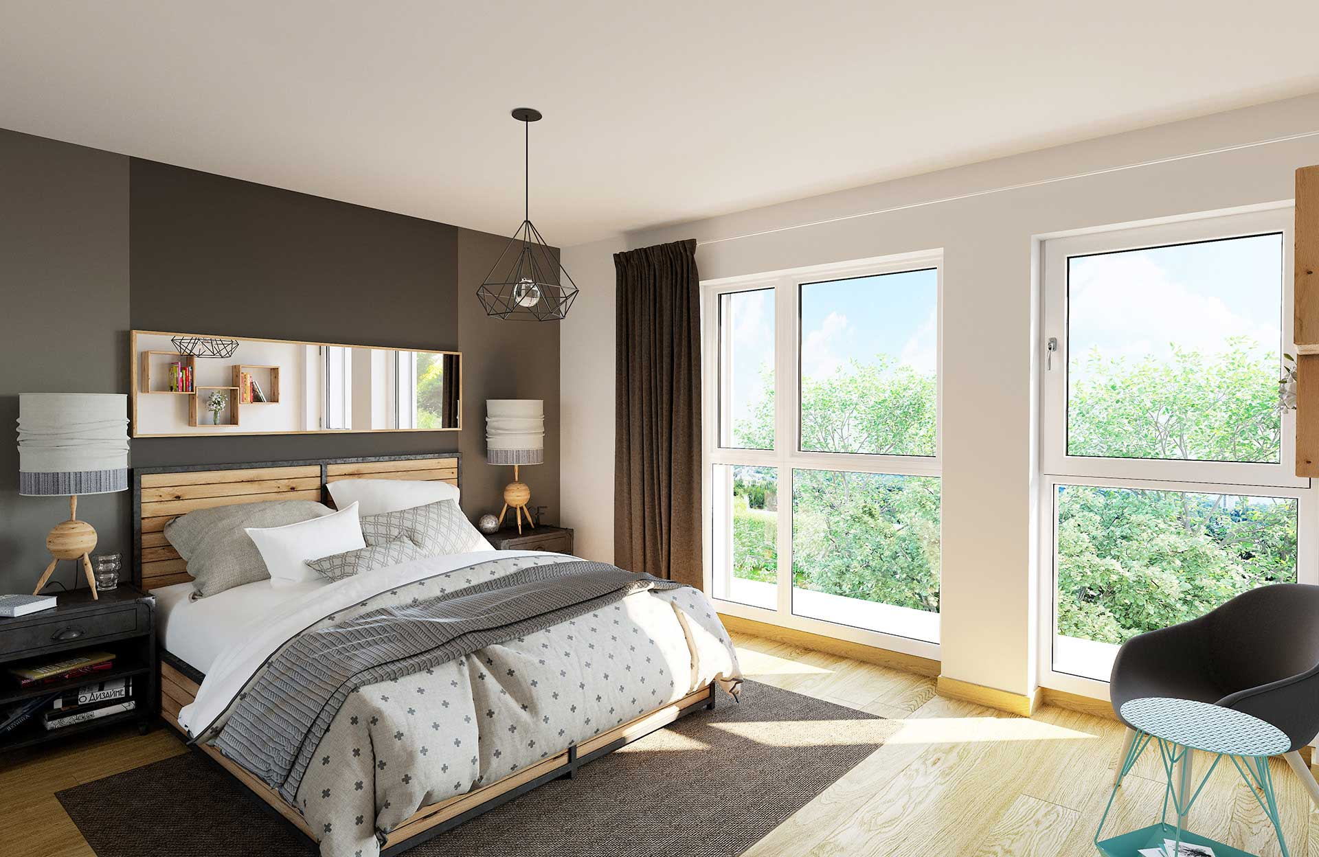 3D Image of a room of a luxurious apartment - Real estate promotion.
