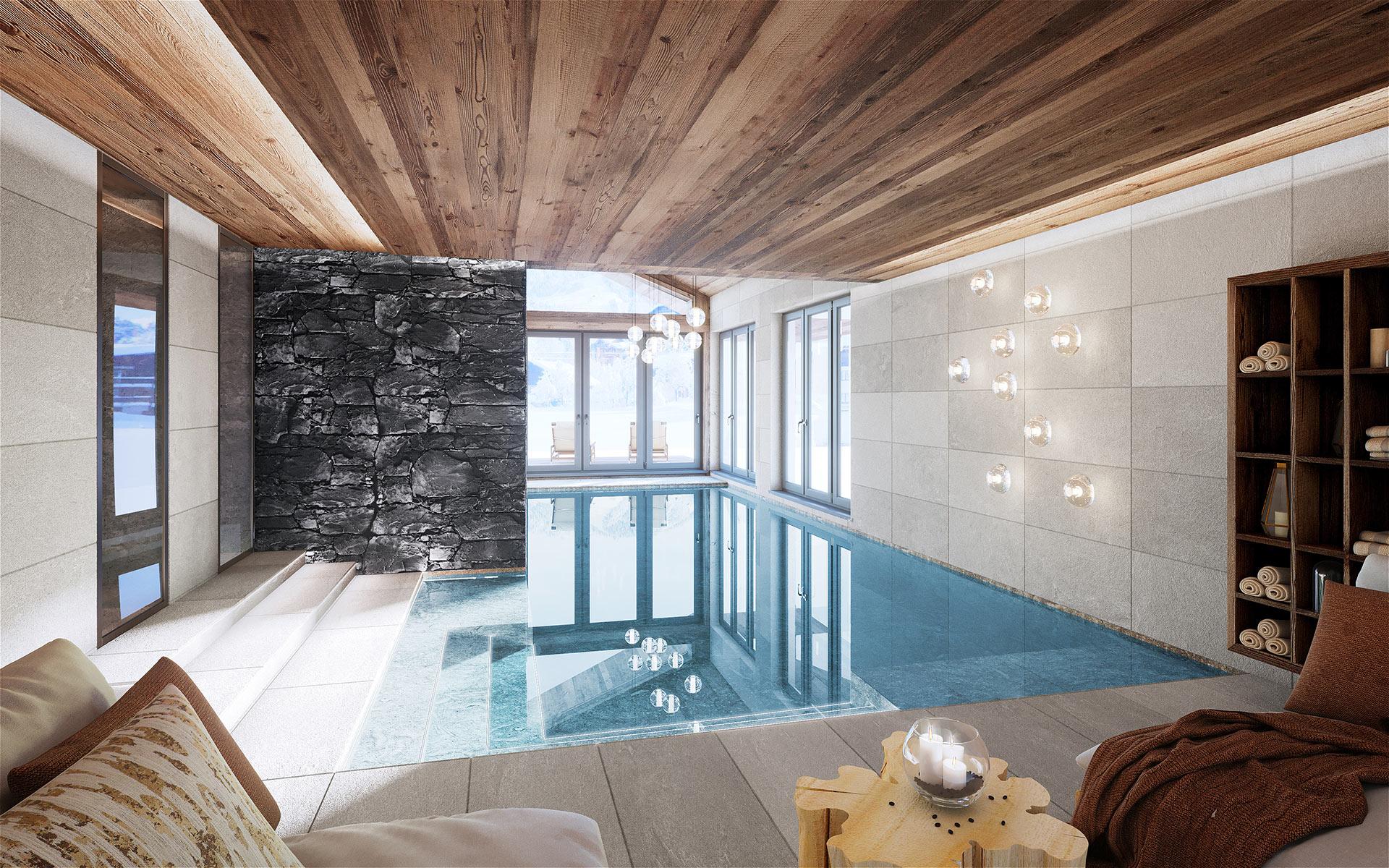 3D render of a luxury chalet pool