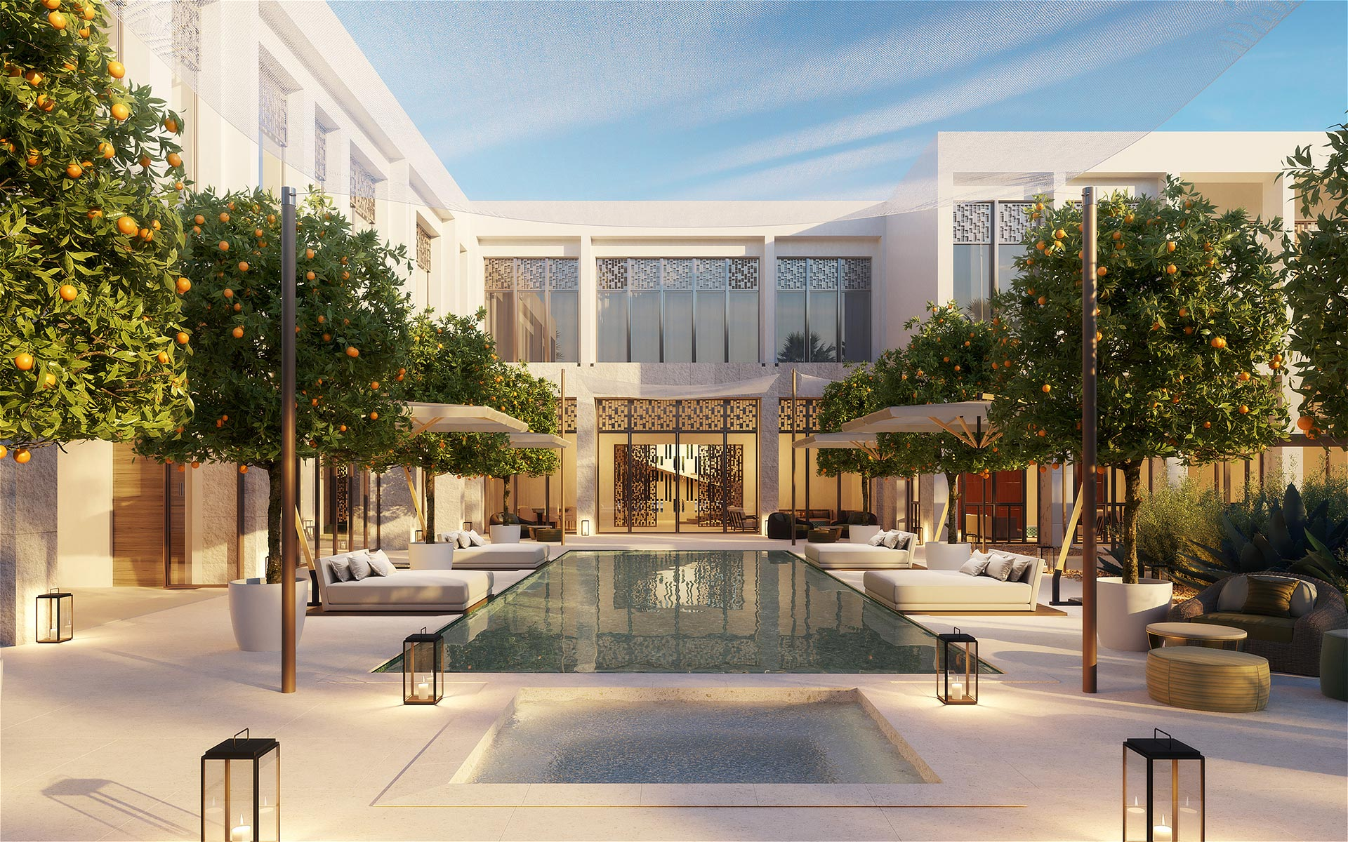 3D render of a pool in a villa in Morocco