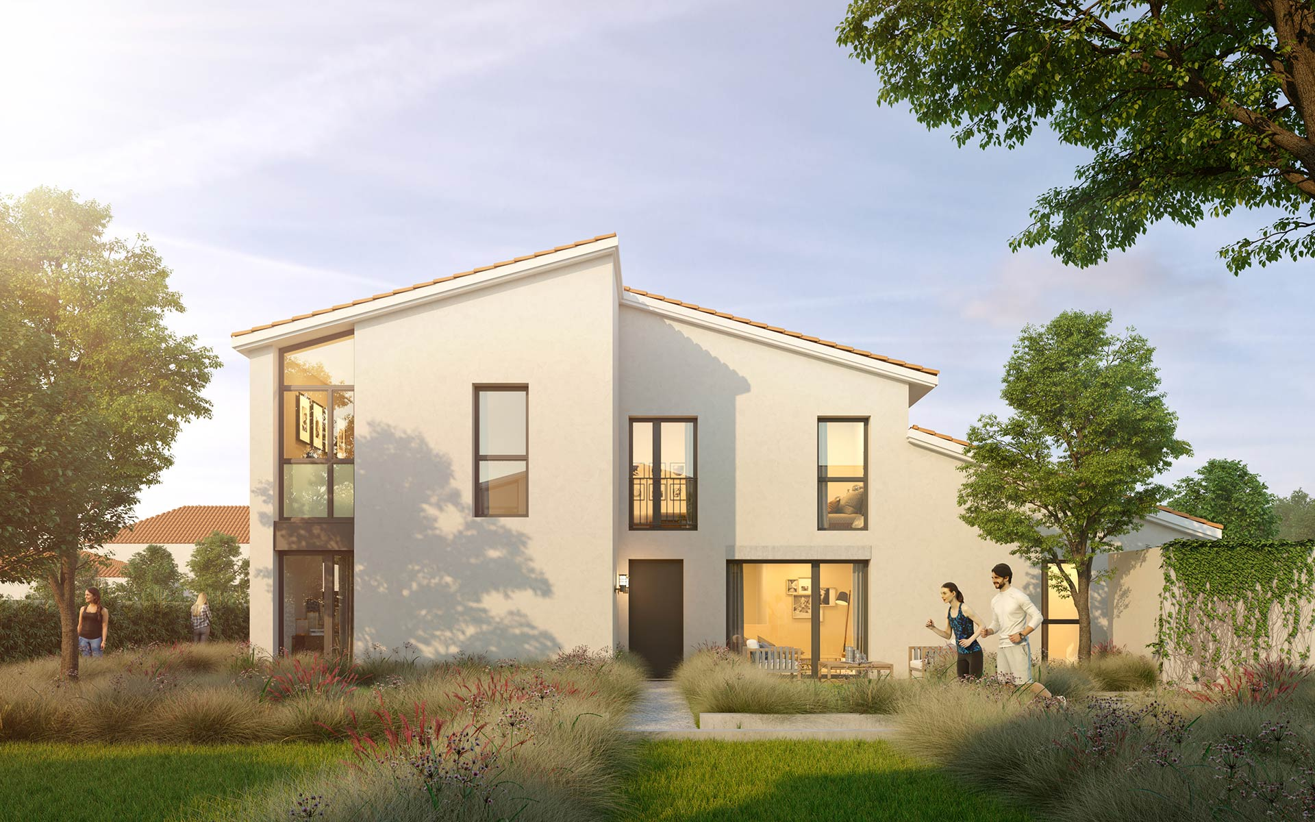 3D architectural visualization of a new house - real estate development