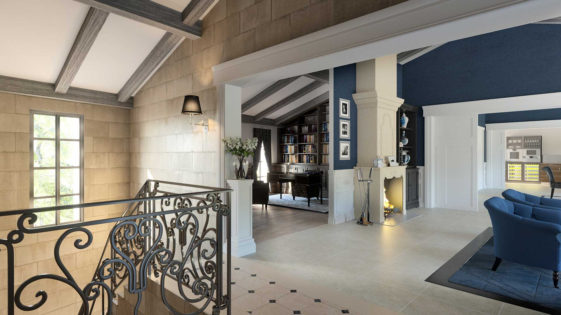 3D Photo of a real estate project of the living room of a luxurious villa in Île-de-Ré.