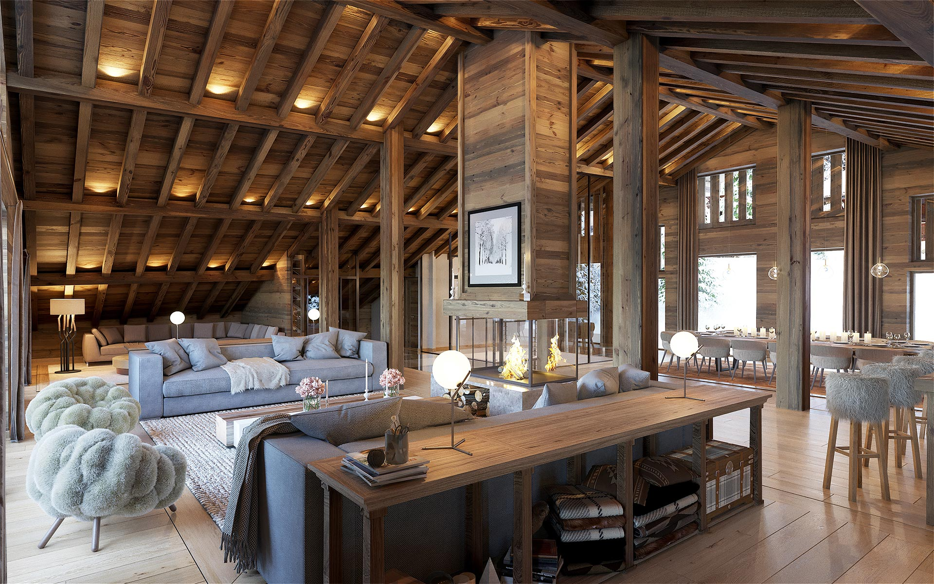 3D render of a luxury chalet living-room for a luxury real-estate project