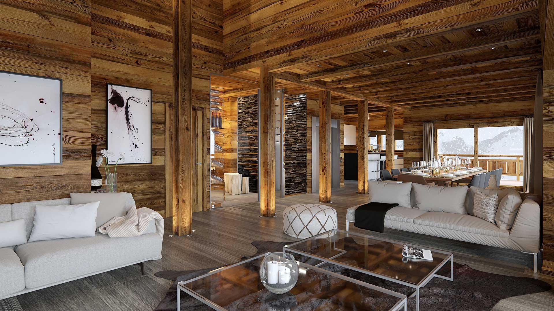 Plan immobilier 3D d'un salon de chalet à Megève.
