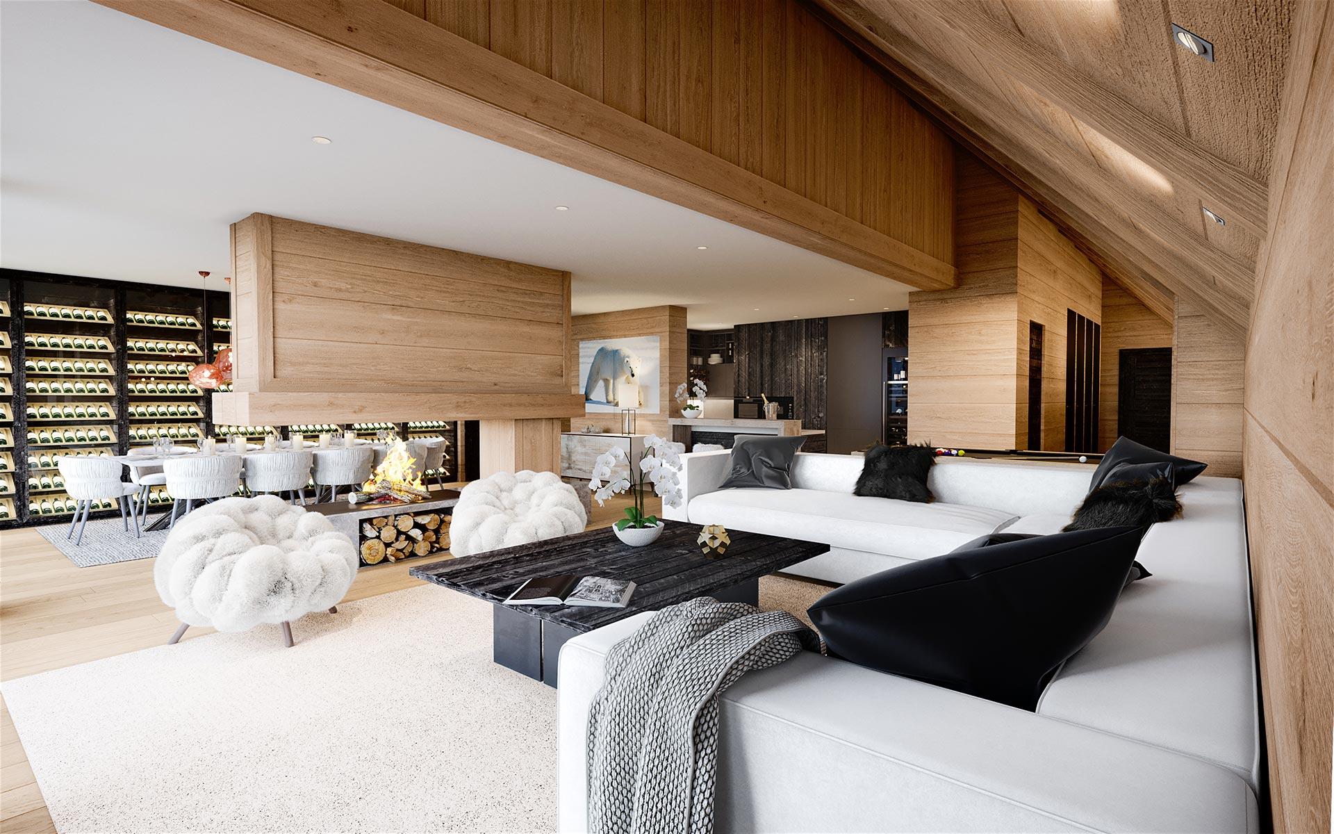3D Render of a luxurious chalet interior