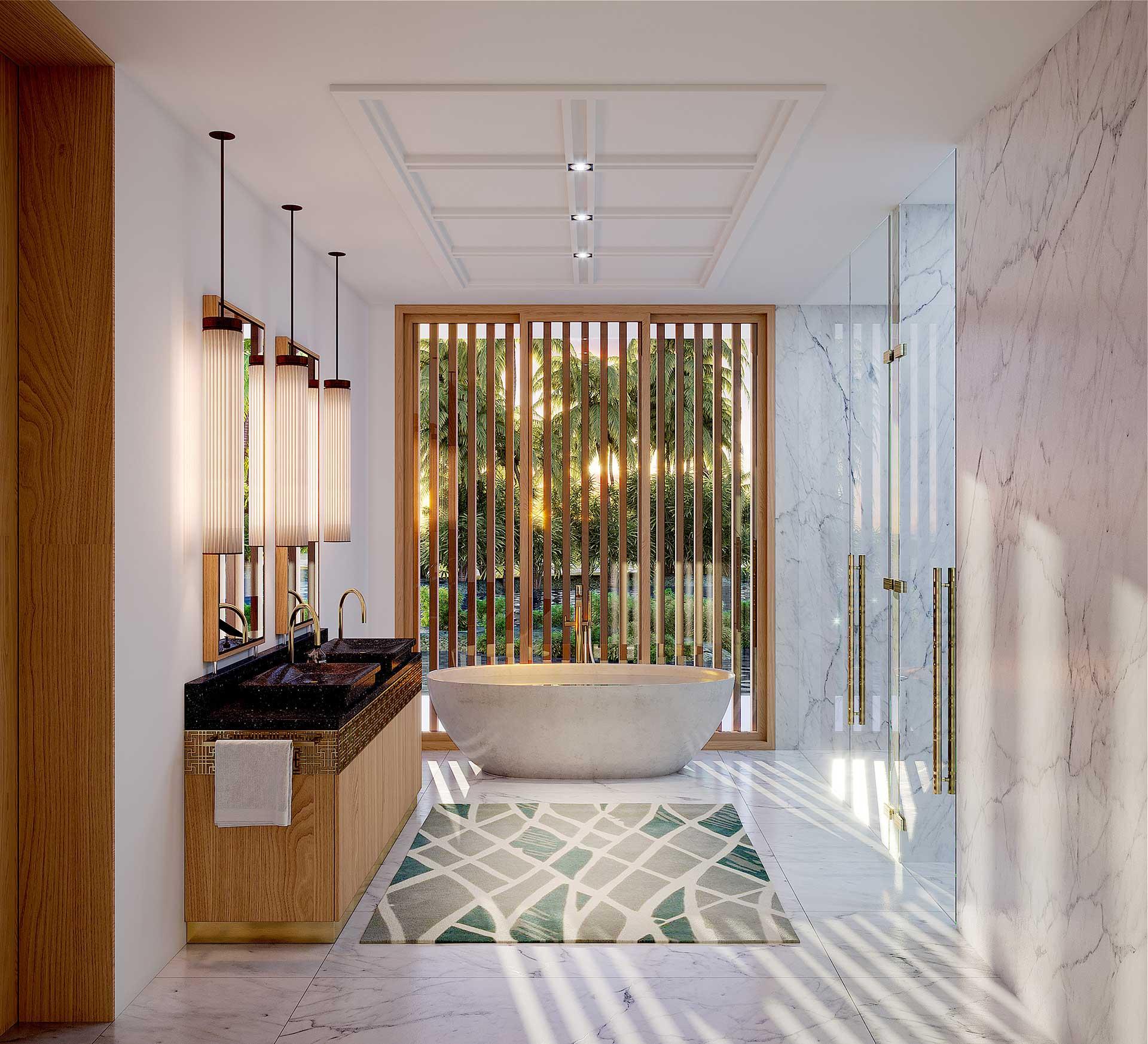 3D render of a bathroom in a villa in Morocco