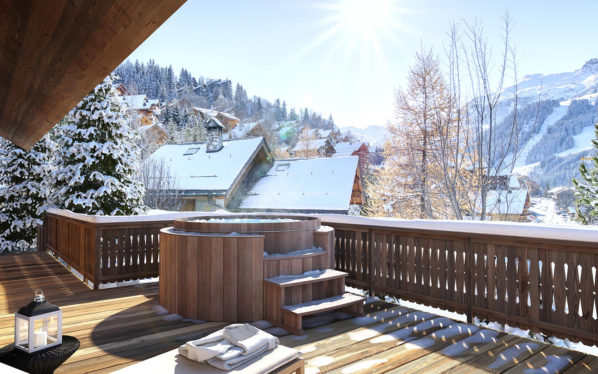 3D perspective of a jacuzzi on a luxury chalet terrace