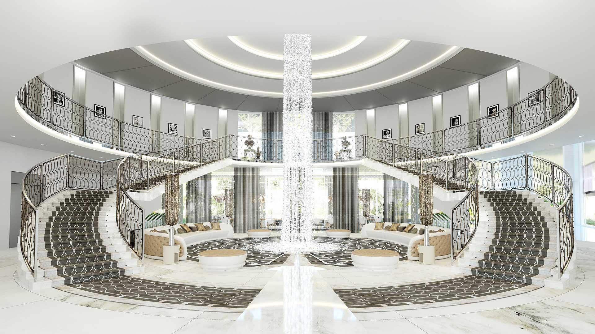 Hall d'entrée d'une villa ultra luxe en image de synthèse, plan immobilier.