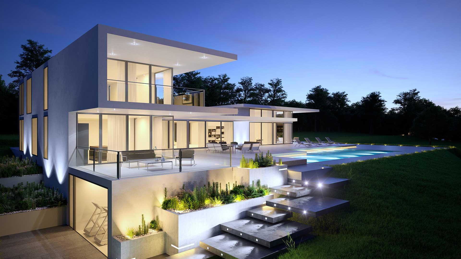 Vue en perspective 3D Villa en Suisse à Genève.