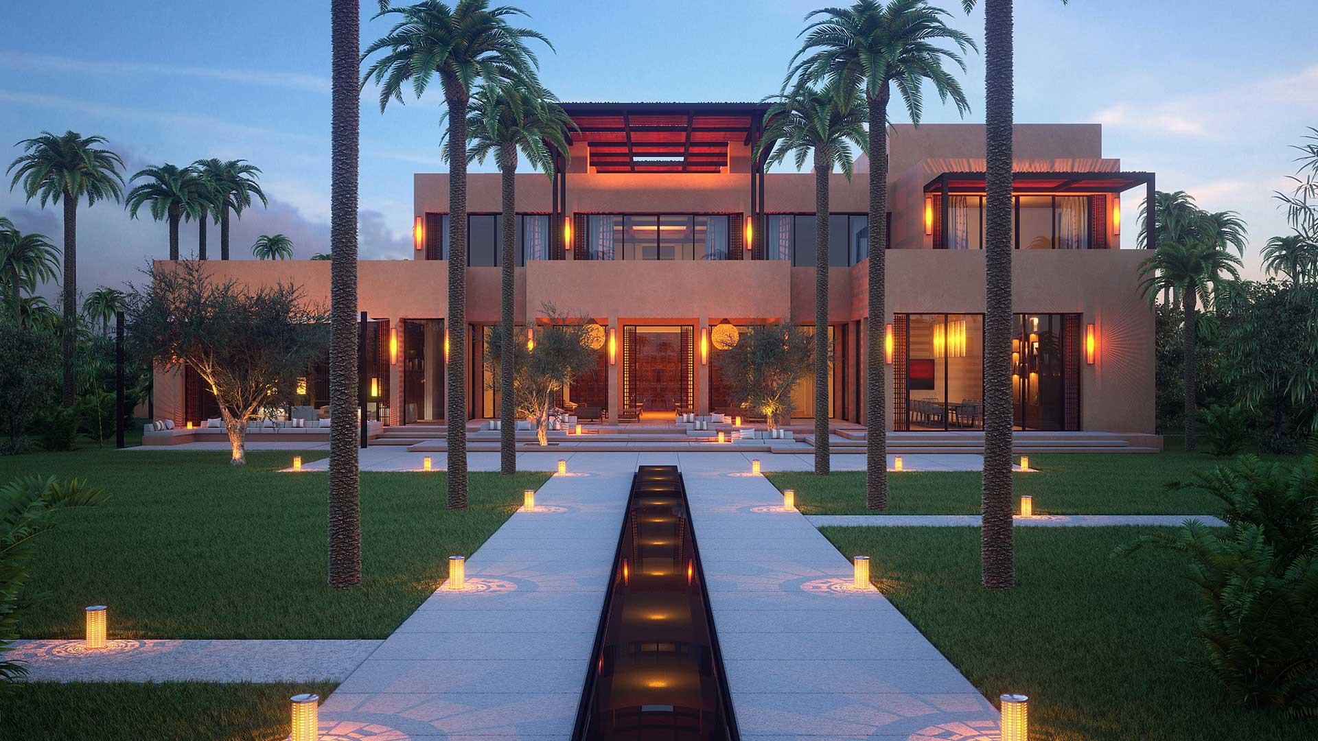 Devanture en image de synthèse 3D d'un projet immobilier d'une villa de luxe au Maroc
