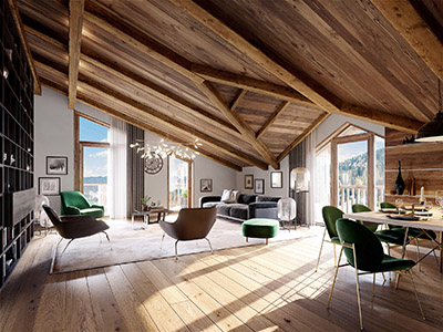 3D image of a living room and dining room in a luxurious chalet