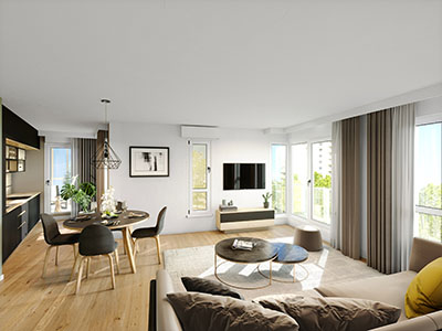 3D perspective of a modern apartment