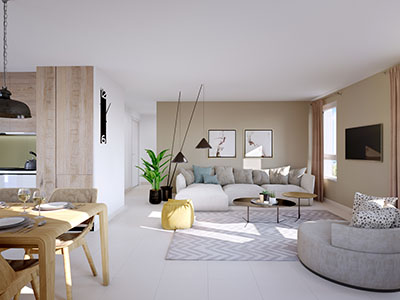 3D visualization of the interior of a modern apartment