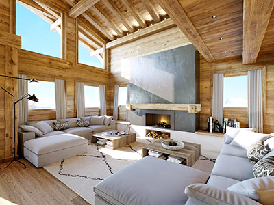3D perspective of a modern living room in a chalet in Tignes