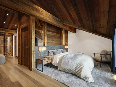 3D visualization of a luxurious and comfortable mountain chalet room