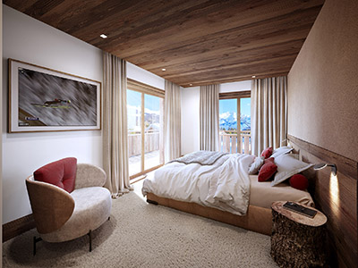 3D graphics of a room in a mountain chalet