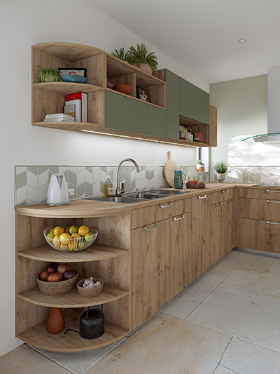 3D image of a modern green and wood kitchen with storage