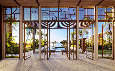 3D image of the doors of a luxury hotel on the beach