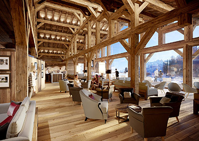 Common relaxation area in a luxurious chalet created by 3D graphic designers