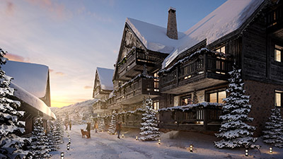 3D rendering of the exterior of a luxury chalet hotel at the end of the day