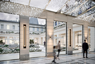 3D computer graphics of a luxurious gallery and its interior courtyard in Paris
