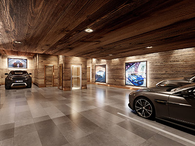 3D photorealistic rendering of a luxury garage with cars in a chalet