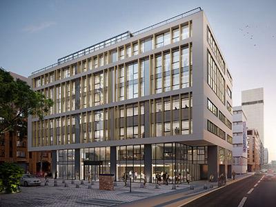 Image 3D d'un immeuble de bureaux intégré dans la ville