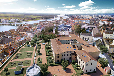 Photo montage 3D of a convent in the city in aerial view