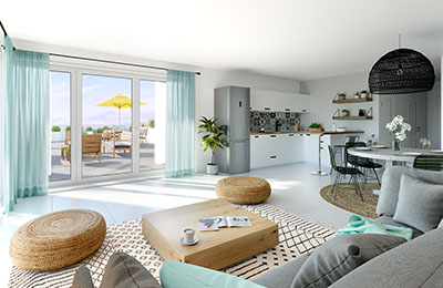 3D image of the interior of a modern apartment