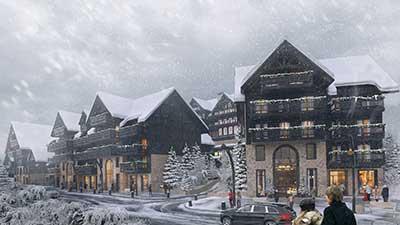 Création d'un village en 3D sous la neige par Valentin Studio, Agence 3D Lyon.