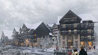 3D village covered in snow created by Valentin Studio, 3D Agency Lyon.