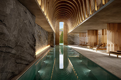 3D image of a luxury indoor pool in Zermatt