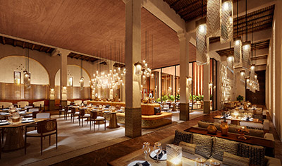 3D image of a luxurious oriental style restaurant