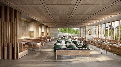 3D Archviz of a luxury restaurant in Switzerland