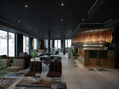 3D visualization of a high-end bar restaurant