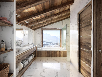 3D graphics of a modern and luxurious bathroom in a chalet