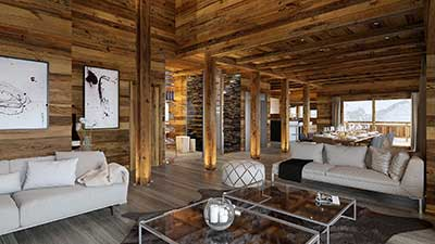 Creation of a still 3D image for the real estate promotion of the living room of a luxurious chalet.