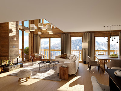 3D image of a modern and rustic apartment in a mountain chalet
