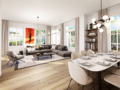 3D synthesis image of a living room in a modern apartment