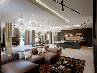 3D perspective of a modern and luxurious living room