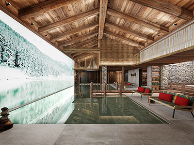 3D rendering of an indoor pool in a Swiss chalet