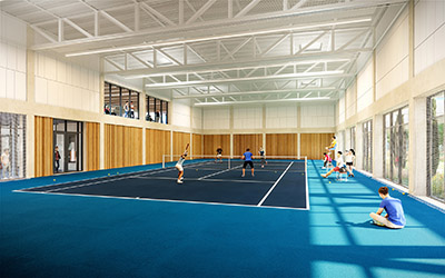 3D representation of an indoor tennis court