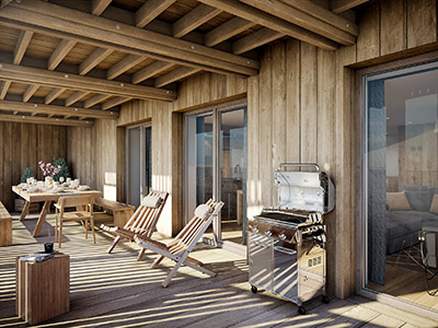 3D image of a chalet terrace