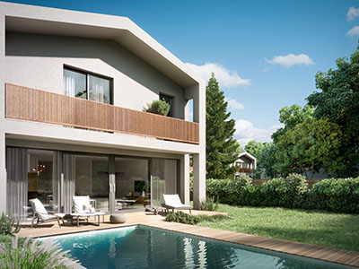 Luxurious house with swimming pool realized in 3D