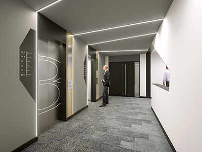 3D image of elevators in a company