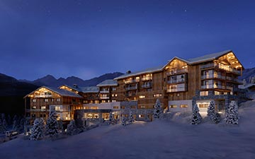 3D Architectural Visualization of chalets by night in a snowy mountain environment
